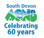 South Devon AONB logo in blue and green on white background
